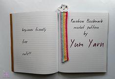 Ravelry: Rainbow Bookmark pattern by Yum Yarn Crochet Bookmark Pattern, Crochet Bookmarks, Crochet Patterns, Easy Crochet, Ravelry, Rainbow, Gifts, Amigurumi, Rainbows