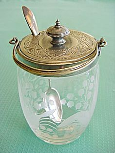 Vintage Lily of the Valley Intaglio Etched and Frosted Glass Jam Jar - Circa early 1900s
