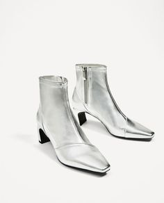 SILVER-TONED ELASTIC HIGH HEEL ANKLE BOOTS-View all-SHOES-WOMAN   ZARA United States
