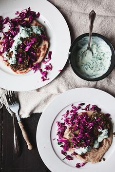 Lentil and Bean Fritter Pitas — recipe adapted from Real Simple  Ingredients: lentils, garbanzo beans, cilantro leaves, parsley leaves, garlic, ground cumin, cayenne, bread crumbs, red cabbage, lemon juice, olive oil, salt & pepper, Greek yogurt, red pepper