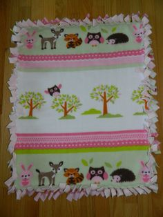"Baby Girl Woodland Animals Design Anti-Pill No-Sew Fleece Stroller / Car Seat / Carriage / Bassinet / Nap Blanket 25"" x 30"" by handmadebyerinn, $14.00 USD"