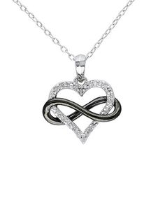 Another great find on #zulily! Diamond & Sterling Silver Infinity Heart Pendant Necklace #zulilyfinds