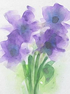 Purple Flowers Art Print featuring the painting Four Purple Flowers by Britta Zehm