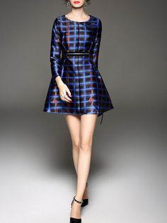 Printed Plaid Mini Dress