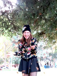 Fall Fashion sassy skirt, leggings, and floral jacket with bedazzled beanie
