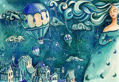#girl #magic #night  #air-ballon  #art #illustration #watercolor #YanaFefelova