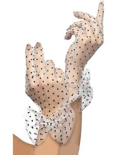polka dot sheer gloves with bows