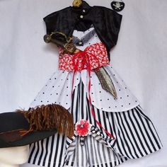 Girl's Steampunk, Pirate, Halloween Outfit, Size 5-7 (to fit  5-7yrs old), Dress, Bolero Cape, Tied Belt, Hairclip, OOAK, Ready to Ship Now