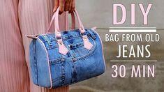 DIY Bolso de mano reciclando Jean o vaqueros en 30 minutos