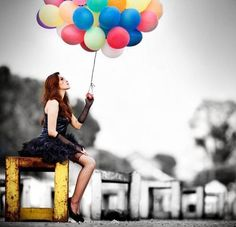 Woman with balloons. :)