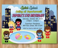 superhero girl photo invitations