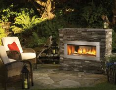 small gas outdoor fireplace....no chimney needed!  Could be perfect for a smaller area - Google Search