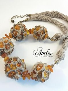 Items similar to Gorgeous amber linen necklace Amber necklace Linen necklace Modern amber jewelry Amber otherwis Amber linen gift Natural jewelry Amber Linen on Etsy Amber Jewelry, Boho Jewelry, Jewelry Crafts, Jewelry Art, Beaded Jewelry, Jewellery, Fabric Necklace, Diy Necklace, Amber Necklace