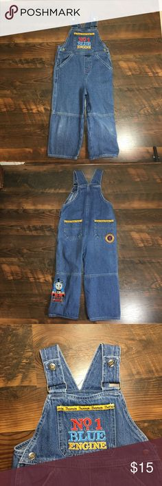 Thomas the tank engine train denim overalls sz 4T Gently used condition Bottoms Overalls
