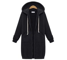 Womens Winter Casual Zip up Coat Hoodie Cardigan Outwear Jacket Long Sweatshirt 2XL Black ** Check this awesome product by going to the link at the image. (This is an affiliate link)
