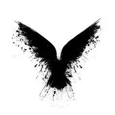 Black grunge bird silhouette with ink splash isolated on white background Bird Silhouette Tattoos, Crow Silhouette, Black Silhouette, Raven Wings, Raven Bird, Raven Feather, Black Crow Tattoos, Black And Grey Tattoos, Body Art Tattoos