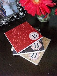 Coasters with scrap book paper