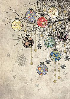 Holiday Fun Bauble Branches - christmas card design by Jane Crowther for Bug Art greeting cards. Christmas Doodles, Noel Christmas, Christmas Paper, Vintage Christmas Cards, Christmas Images, Xmas Cards, Winter Christmas, Christmas Crafts, Christmas Ornaments