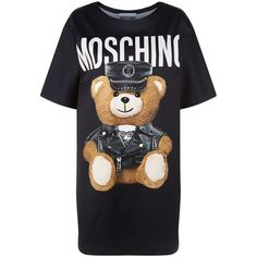 Moschino Teddy Print T-Shirt Dress ($740) ❤ liked on Polyvore featuring dresses, tops, moschino, print dress, loose fitting dresses, tee shirt dress and biker dress