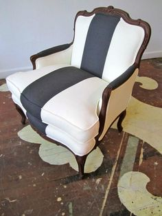 Striped chair - one solid dark bold stripe against white in linen/twill fabric