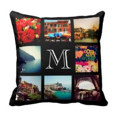 Custom Monogram Instagram Photo Collage Throw Pillow