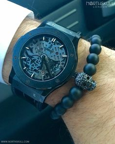 Fan Instagram Pic ! |@Assaadmitri posted a cool photo of his All Black HublotClassic Fusion Ultra-Thin Skeleton Watch nicely paired with our smooth Matte Black Onyx/ Gun Metal & Black Crystal Skull Bracelet; a great pick from our collection | Available now at Northskull.com [Worldwide Shipping] #Luxury #Jewelry #MensFashion