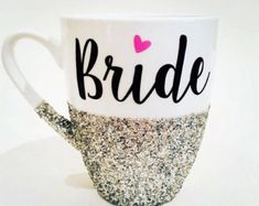 The Wife Life hand glittered coffee mug in pink by Boundtobeloved