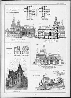 Villas, cottages and country houses / drawings of architectural monuments, buildings and objects - a visual history of architecture and styles Wooden Architecture, Victorian Architecture, Architecture Drawings, Architecture Plan, Residential Architecture, Vintage House Plans, New House Plans, House Floor Plans, Modern Deck