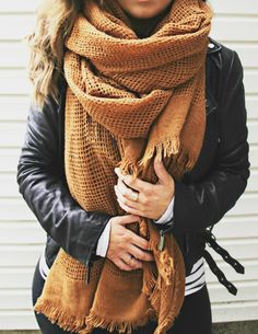 MUSTARD YELLOW BLANKET SCARF= BACK IN STOCK