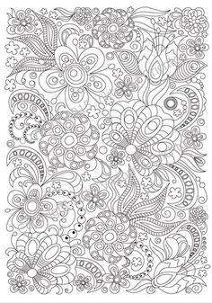 Adult coloring page doodle flowers zentangle by ZentangleHouse