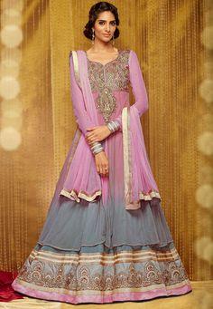 Grey Net and Georgette Double Layered Abaya Style Churidar Kameez: KCR6706
