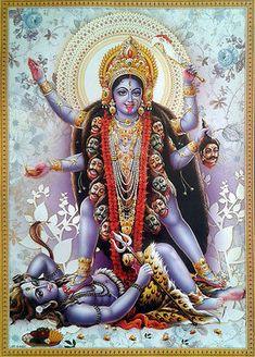 Thoughts on The Shiva-Kali Dynamic. Many of us are familiar with the story of Mother Kali killing the demon Raktabija, after doing so She flies into a rage threatening the universe with destruction. In order to stop this, Her husband Shiva lays down. Kali Goddess, Indian Goddess, Mother Goddess, Kali Hindu, Hindu Art, Kali Mata Mandir, Shiva Art, Shiva Shakti, Durga Maa