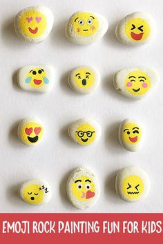 Have fun making these emoji decorated rocks - and then head out and hide them in your local community! Design yourself as an emoji too.