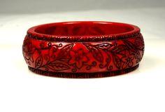 Vintage Carved Lucite Dark Red Bangle Bracelet by TheFashionDen