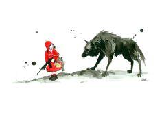 Rødhætte og ulven Kunsttryk
