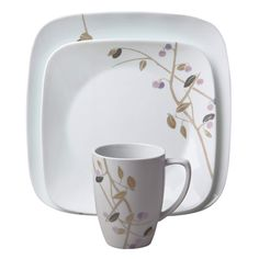Square™ Midnight Garden Dinnerware Set - Delicate, muted branches extend across the contemporary square shape. Hints of purple add a dreamy sophistication to any table setting. // click through to shop Midnight Garden, Square Plates, Kitchen Redo, Kitchen Ideas, Dinnerware Sets, Kitchen Essentials, A Table, Chips, Mugs