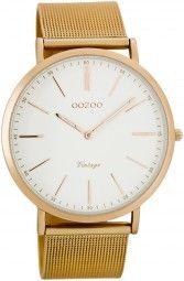 Oozoo Ultra Slim Vintage Uhr C7390 - rose/weiss - 40 mm - Meshband