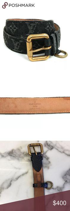 Louis Vuitton Denim Monogram Belt Size: 36  Black  Denim and leather  100% Authentic  Dust bag included  Worn few times, in Excellent Like new condition  Light denim color LV monogram all over Unisex belt but sized in men Louis Vuitton Accessories Belts