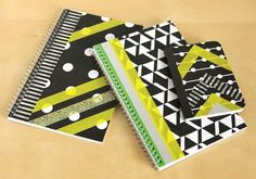 Washi Tape Notebook Covers | 10 Things You Didn't Know You Could Do With Washi Tape | http://www.hercampus.com/diy/10-things-you-didnt-know-you-could-do-washi-tape