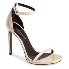 Women's Saint Laurent 'Jane' Ankle Strap Leather Sandal ($750) ❤ liked on Polyvore featuring shoes, sandals, heels, poudre, ankle tie sandals, strappy heel sandals, heeled sandals, strap heel sandals and strappy stiletto sandals