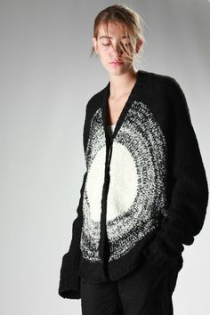ANREALAGE - Long Circular Cardigan In Bouclé Knitted Wool, Alpaca And Acrylic With A Light Circle In Weft :: Ivo Milan