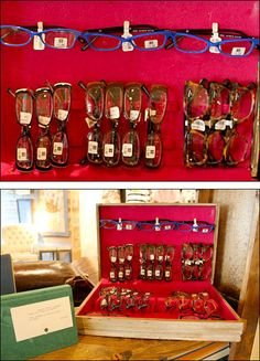 Eyewear Merchandised in Silverware Case Felt Cover, Organizing, Organization, Optometry, Find Objects, Optical Frames, Optician, Window Displays, Visual Merchandising
