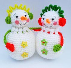 Snowman Couple Pouch Gift Bag Amigurumi Crochet Pattern by HandmadeKitty=^_^=, via Flickr