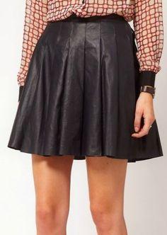 Black PU Leather Pleated Short Skirt