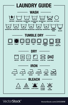 laundry guide art print and care signs, textile washing symbols for tags, labels. Laundry Icons, Laundry Labels, Laundry Symbols, Laundry Hacks, Household Cleaning Tips, Cleaning Hacks, Hacks Diy, Web Design, Flat Design