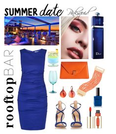 """""""Royal treatment"""" by pinksquid on Polyvore featuring Nicole Miller, Gianvito Rossi, Valextra, Pomellato, Kenneth Jay Lane, Christian Dior, Pier 1 Imports, L'Oréal Paris, summerdate and rooftopbar"""