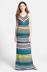 Caslon® Twill Strap Jersey Maxi Dress (Regular & Petite)