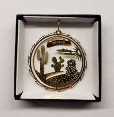 Indiana Brass Ornament State Landmarks Black Leatherette Gift Box