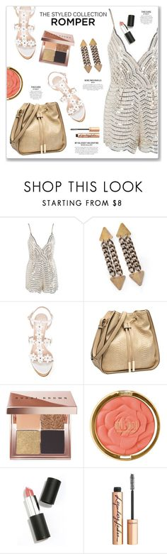 """The Styled Collection Romper"" by kellylynne68 ❤ liked on Polyvore featuring Oscar de la Renta, Bobbi Brown Cosmetics, Milani, Sigma Beauty, Charlotte Tilbury, gold, Sequins, romper and thestyledcollection"