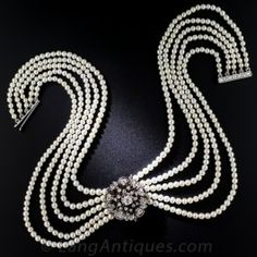 Antique Edwardian Pearl Choker with Diamond Floral Centerpiece